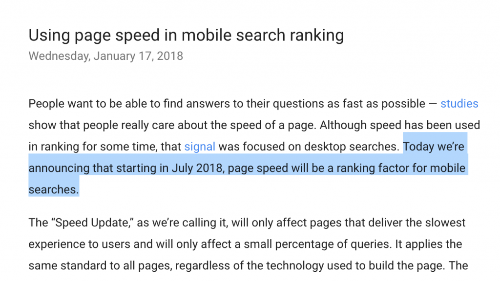 Page Speed Ranking Factor on Mobile Announcement