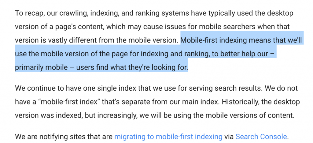 Mobile-first indexing statement by Google